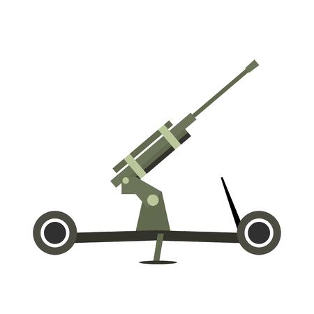 Howitzer artillery flat icon isolated on white background