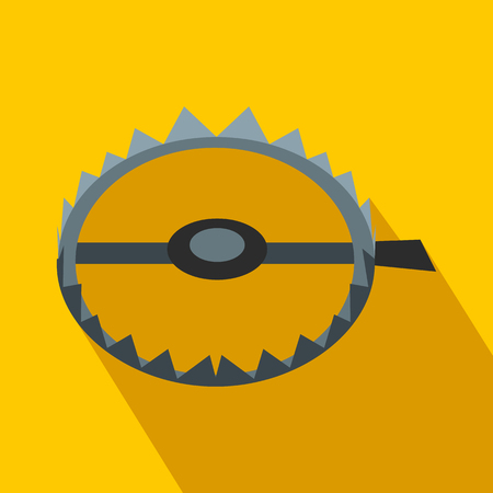 Sharp metal trap flat icon on a yellow background