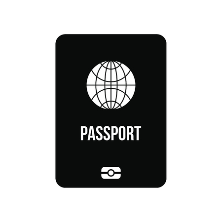 Passport black simple icon isolated on white background