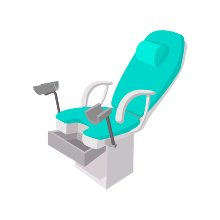 Medical gynecological chair cartoon icon on a white background Stock Photo