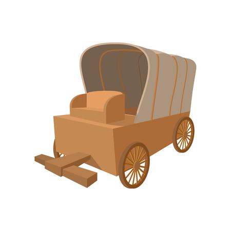 Western covered wagon cartoon icon on a white background Stockfoto