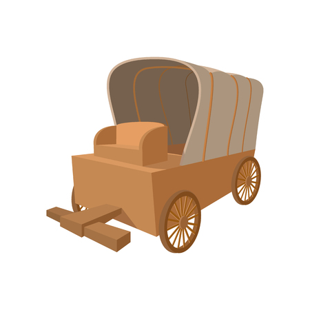 Western covered wagon cartoon icon on a white background Stockfoto
