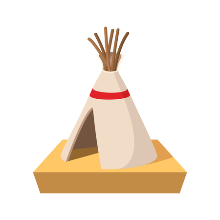 Indian tent cartoon icon on a white background