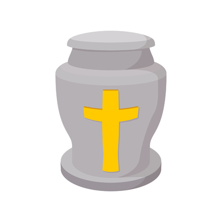 Urn for ashes cartoon icon on a white background