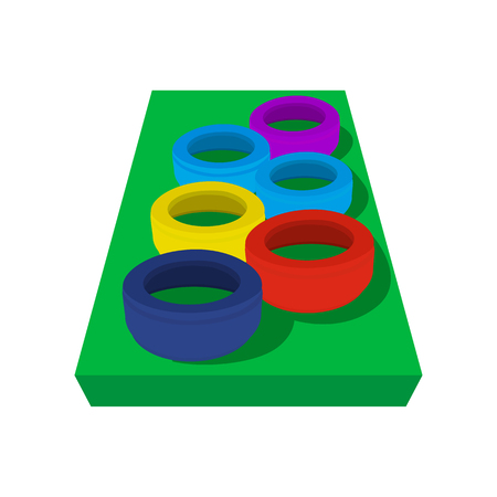 Set of tires in an bbstacle course for children. Playground equipment on a white