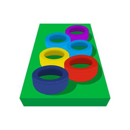 Juego de neumáticos en un circuito de bbstacle para niños. Equipo de juegos en un blanco