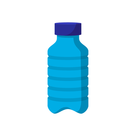 Blue plastic bottle cartoon icon on a white background Banque d'images