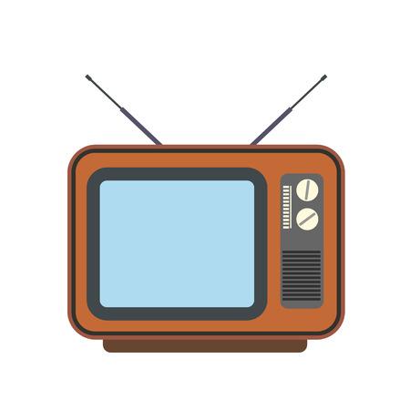 Retro tv flat icon isolated on white background