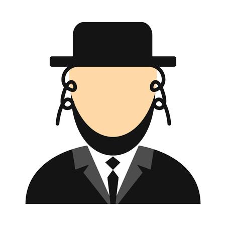 Rabbi flat icon. Jewish man isolated on white background