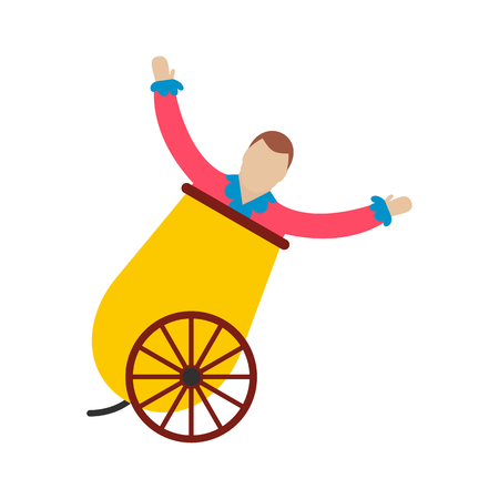 Circus man in cannon icon isolated on white background