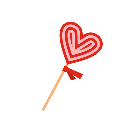Valentine Day lollipop flat icon isolated on white background