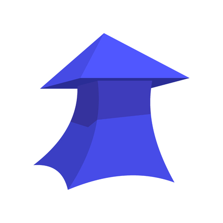 Blue thick arrow cartoon icon. Straight, vertical arrow isolated on a white background