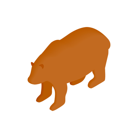 Brown bear isometric 3d icon on a white background