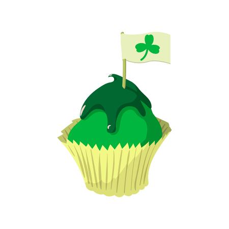 St Patricks Day cupcake cartoon icon on a white background