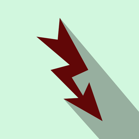 Lightning flat icon on a light blue background Stock Photo