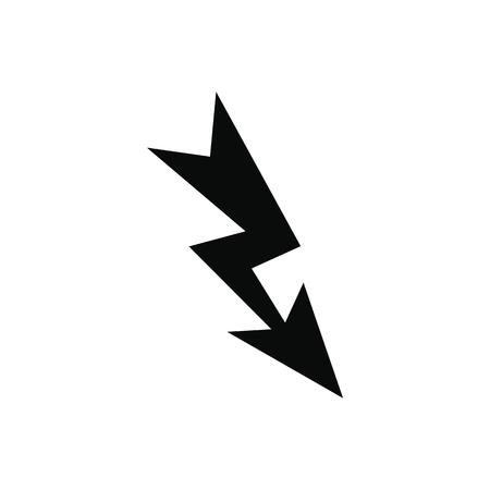 Lightning black simple icon isolated on white background