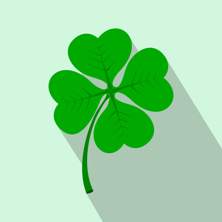 Four leaf clover flat icon on a light blue background