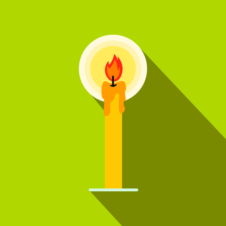 Burning candle flat icon on a green background Stock Photo