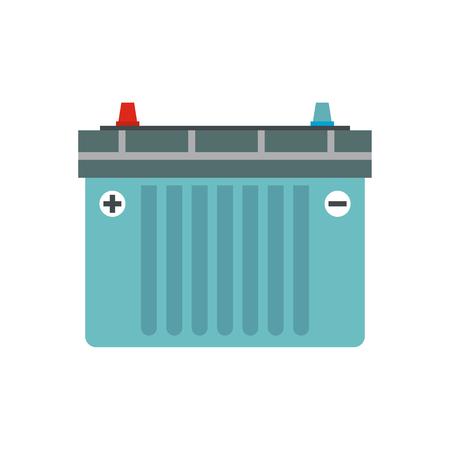 Car battery flat icon isolated on white background