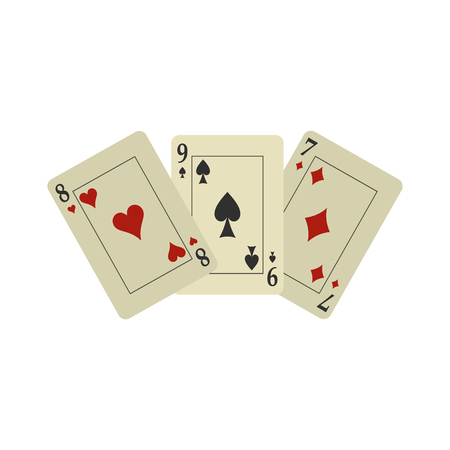 Playing cards flat icon isolated on white background