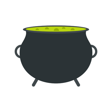 Witch cauldron with green potion flat icon isolated on white background