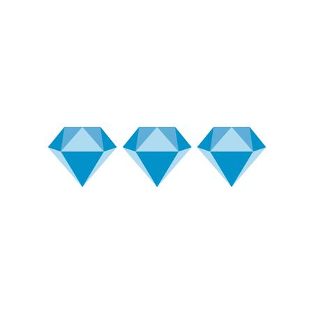 Three diamonds flat icon isolated on white background
