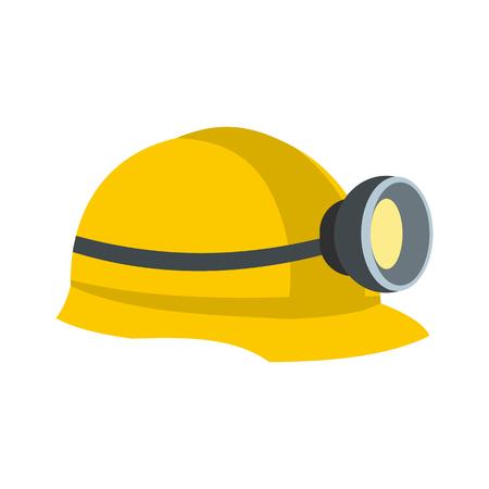 Casco de mineros con icono plano de lámpara aislado sobre fondo blanco