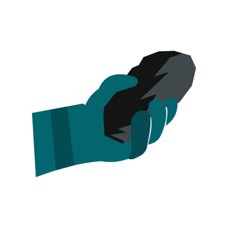 Hand holding a bunch of coal flat icon