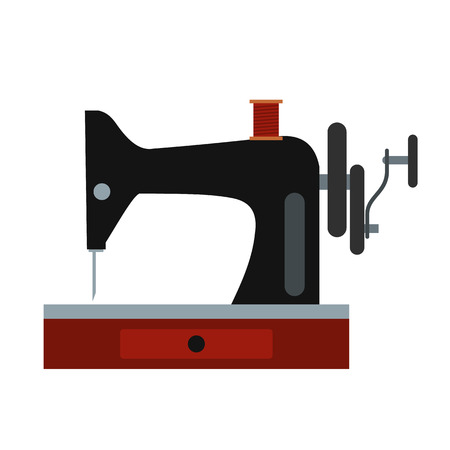 Black old sewing machine flat icon
