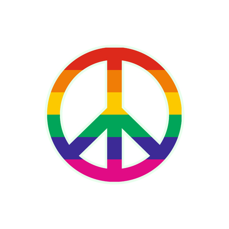 Peace symbol rainbow flat icon isolated on white background