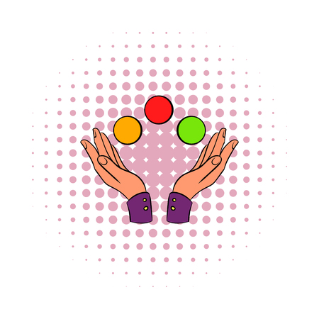 Hands juggling balls comics icon isolated on a white background Stock Photo