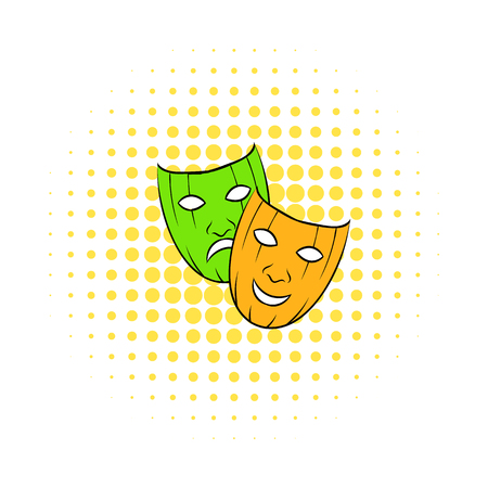 Comedy tragic and comics masks icon isolated on a white background