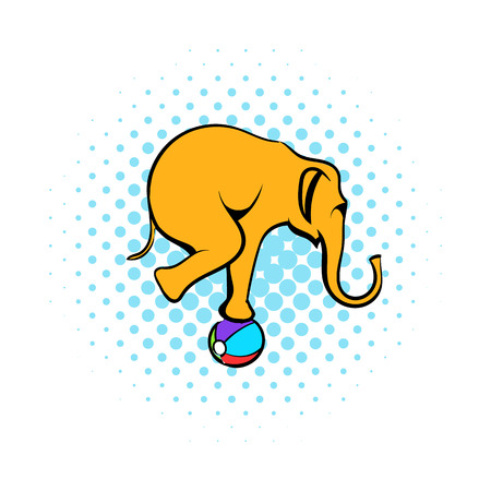 Circus elephant on the ball comics icon isolated on a white background 스톡 콘텐츠
