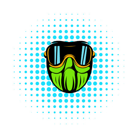 Protective mask comics icon isolated on a white background