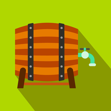 Wooden barrel of beer with a tap flat icon on a green background Stock Photo