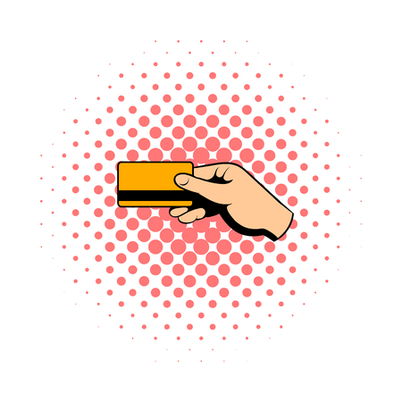 Hand holding credit card comics icon isolated on a white background Stock Photo