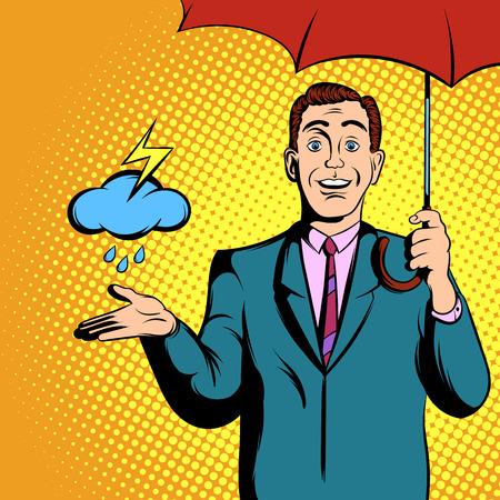 TV weather news reporter at work comics illustration