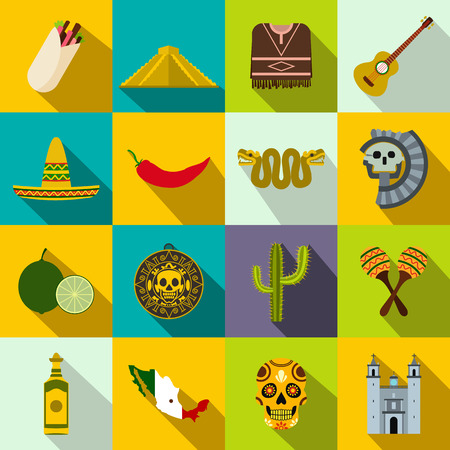 Mexico icons in flat style for web and mobile devices