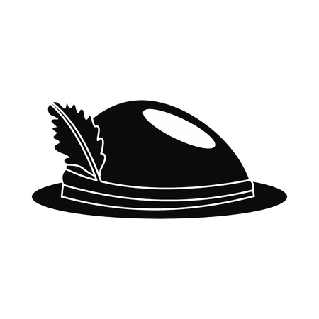 Hat with a feather icon. Black simple style