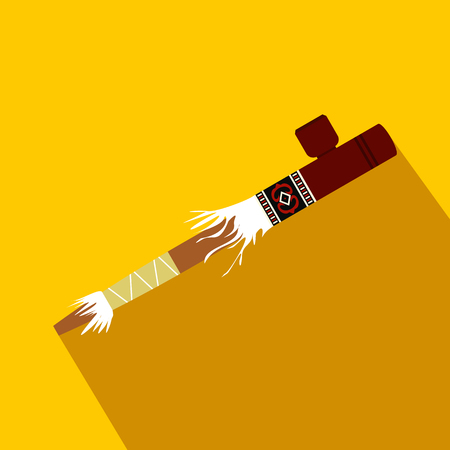 Indian peace pipe flat icon on a yellow background