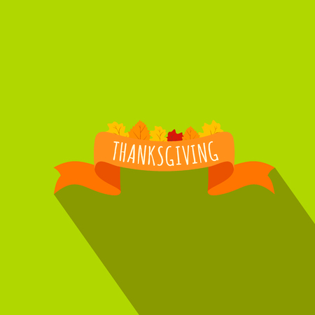 Ribbon thanksgiving flat icon with shadow on the background Stock Photo