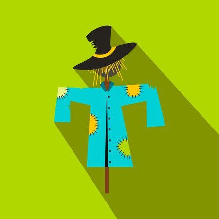 Scarecrow flat icon with shadow on green background
