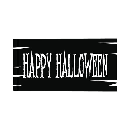 Signboard happy halloween icon. Black simple style