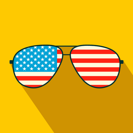 American flag glasses flat icon on a yellow background