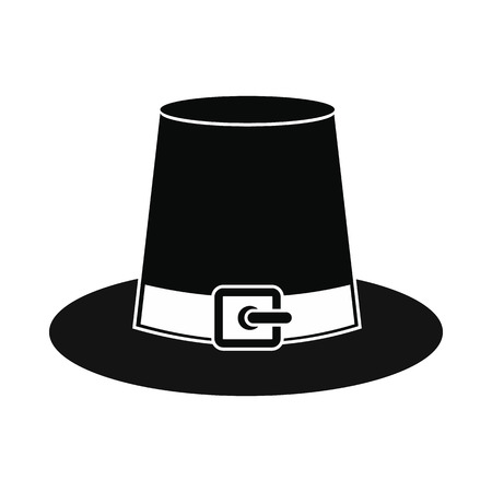 Gorgeous pilgrim hat icon. Black simple style Фото со стока