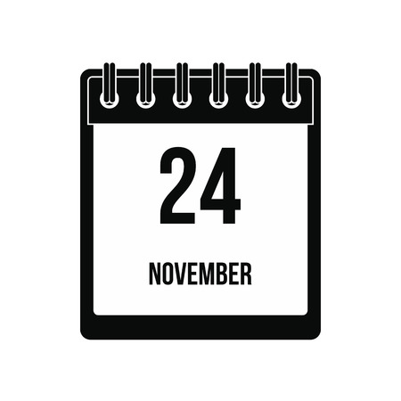 Calendar november 24 icon. Black simple style Stockfoto
