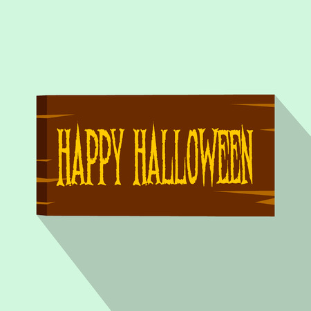 Signboard happy halloween flat icon with shadow for web and mobile devices