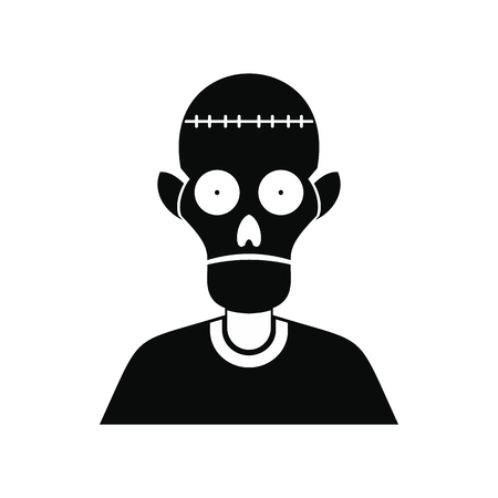 Zombie icon. Black simple style on white
