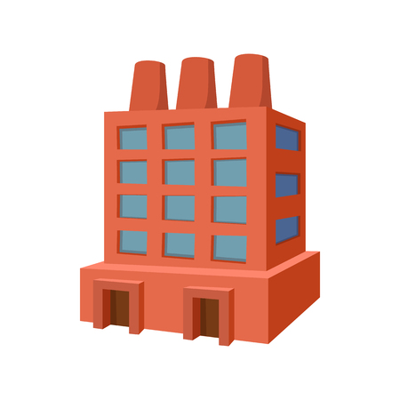Factory building cartoon icon on a white background