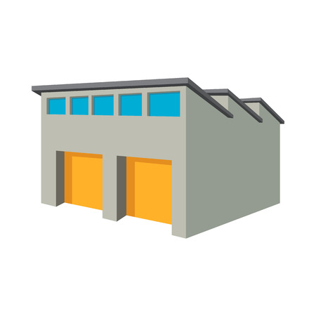 Commercial warehouse with yellow roller doors cartoon icon on a white background